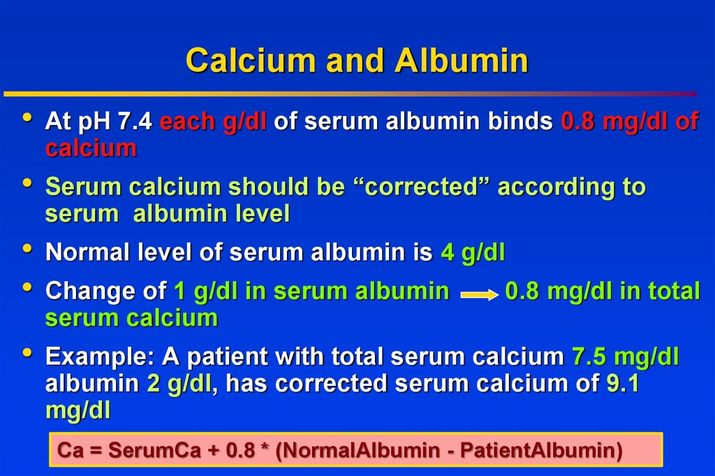 Calcium and Albumin