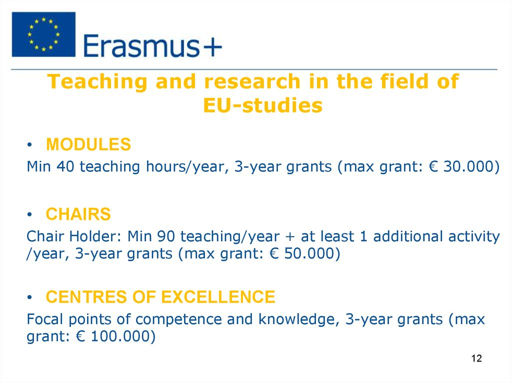 Teaching and research in the field of EU-studies