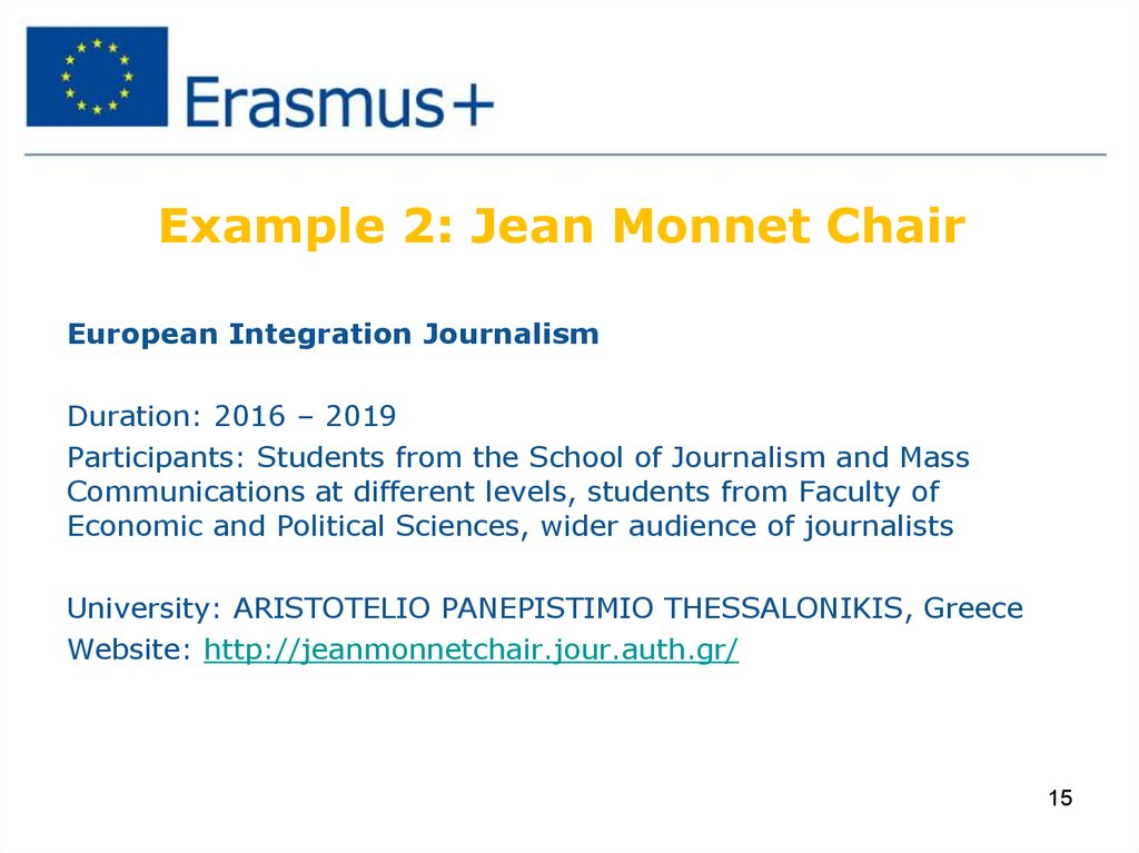 Example 2: Jean Monnet Chair