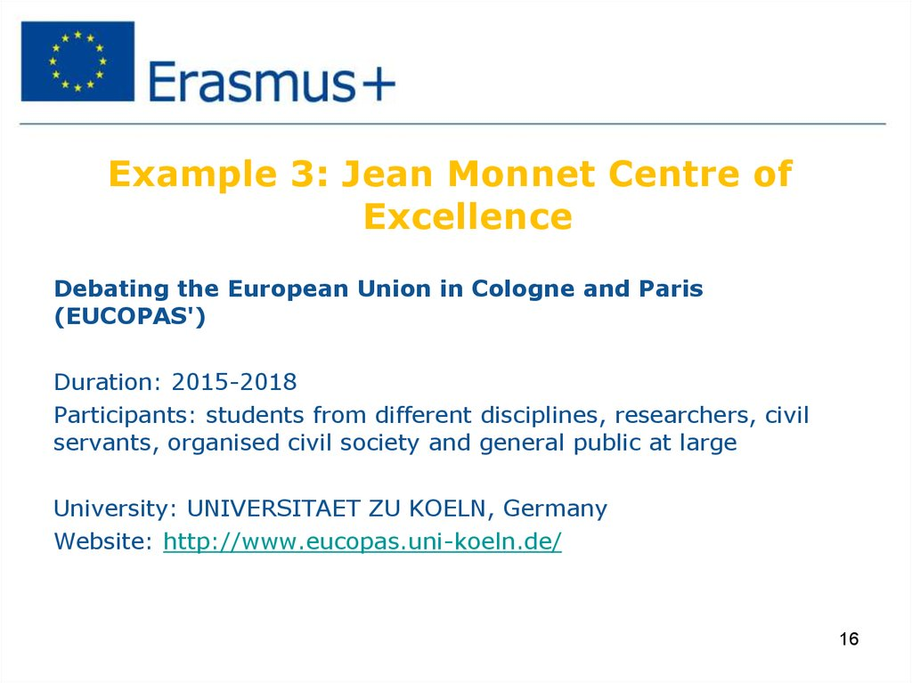 Example 3: Jean Monnet Centre of Excellence
