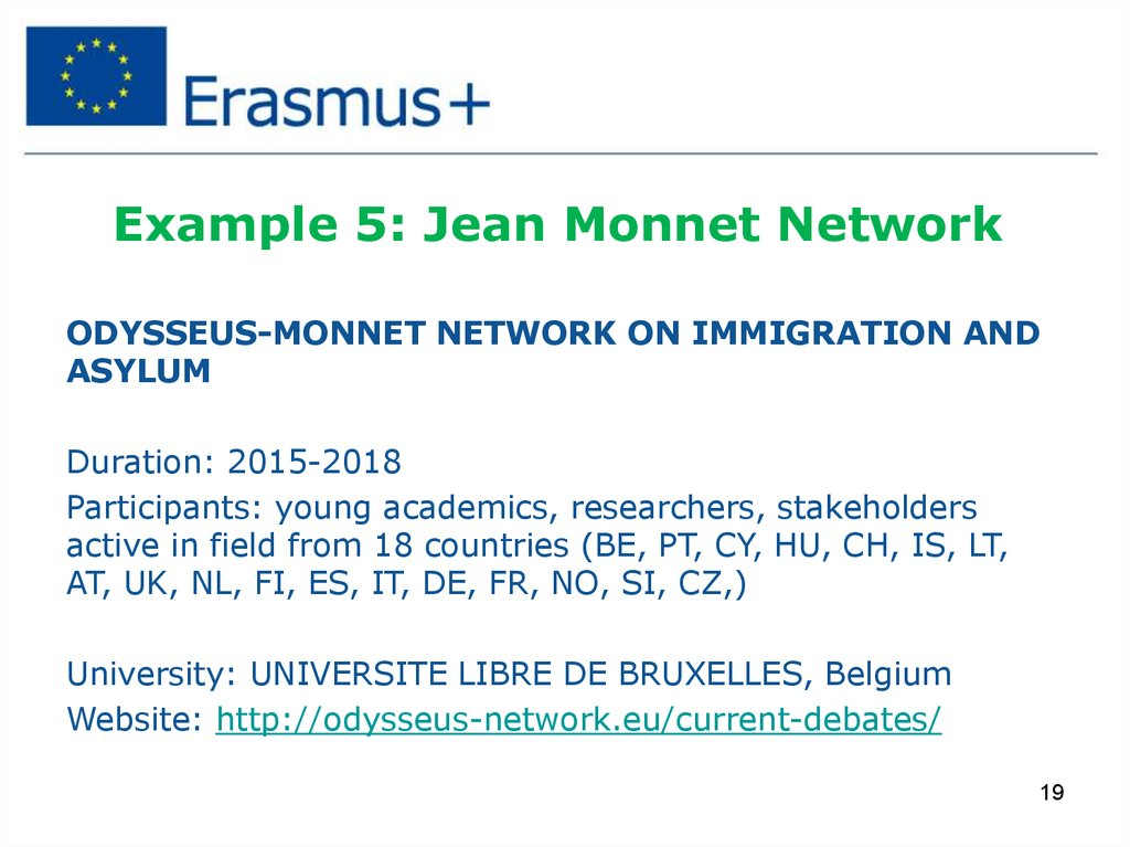 Example 5: Jean Monnet Network