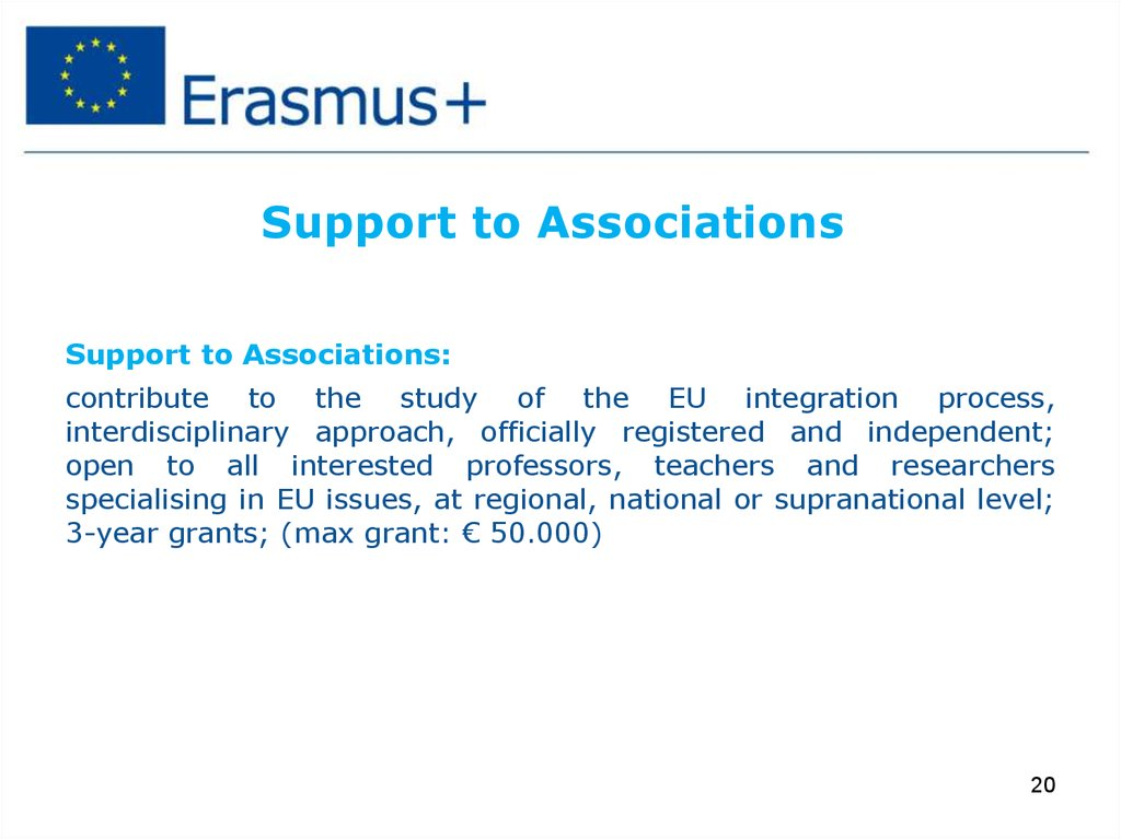 Support to Associations