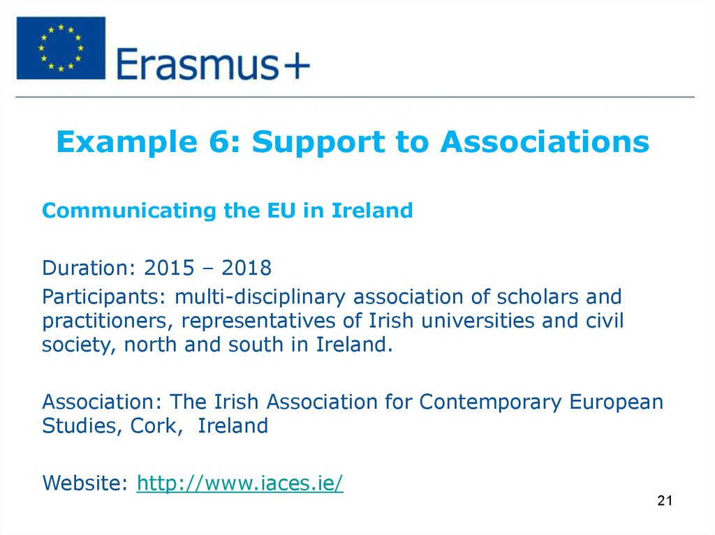 Example 6: Support to Associations