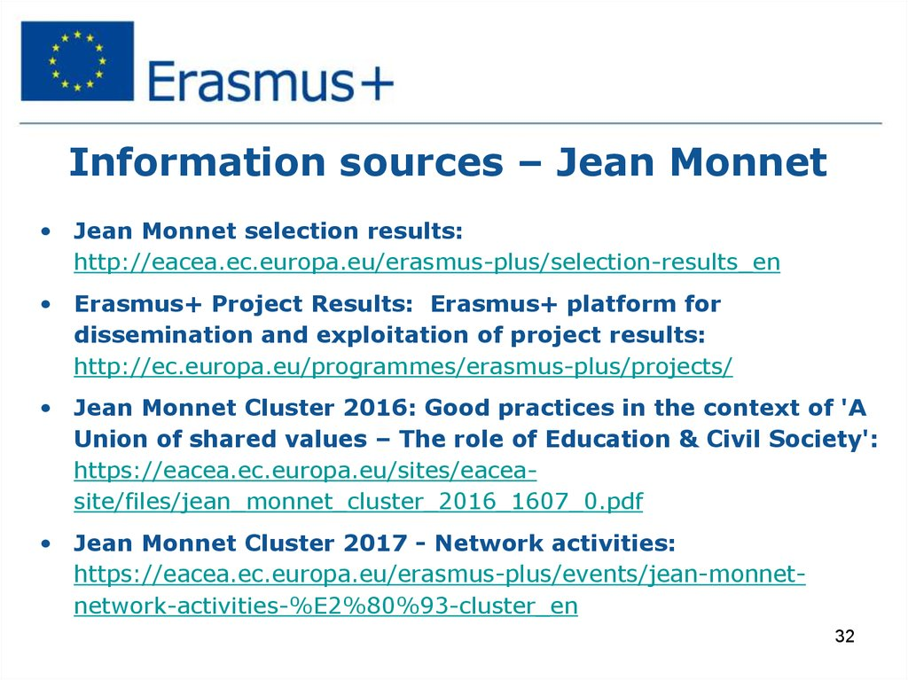 Information sources – Jean Monnet