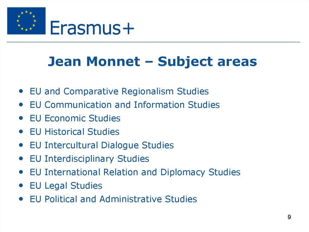 Jean Monnet – Subject areas