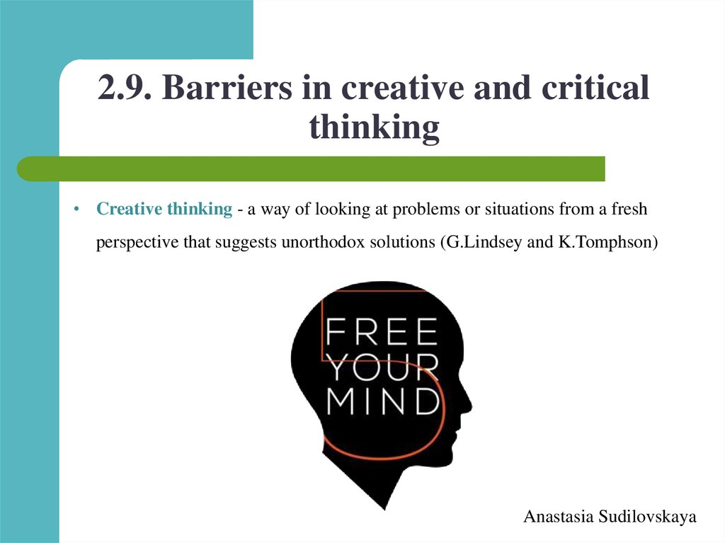 2.9. Barriers in creative and critical thinking