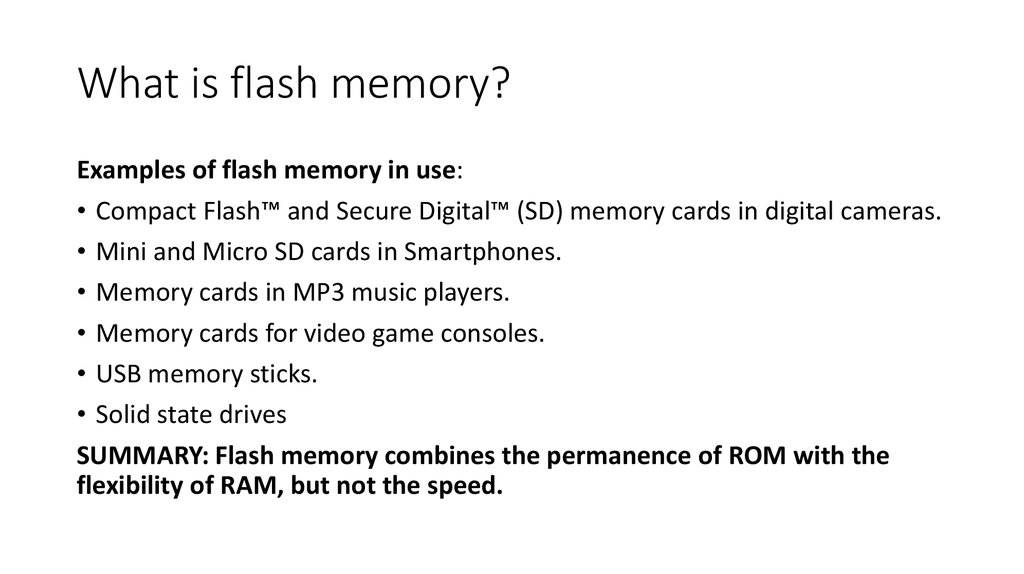 RAM, ROM and Virtual memory - online presentation