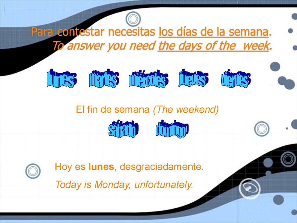 Para contestar necesitas los días de la semana. To answer you need the days of the week.