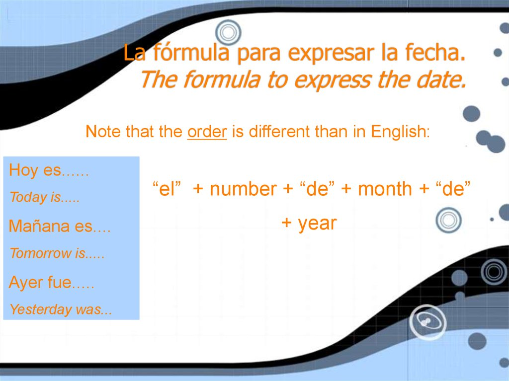 La fórmula para expresar la fecha. The formula to express the date.
