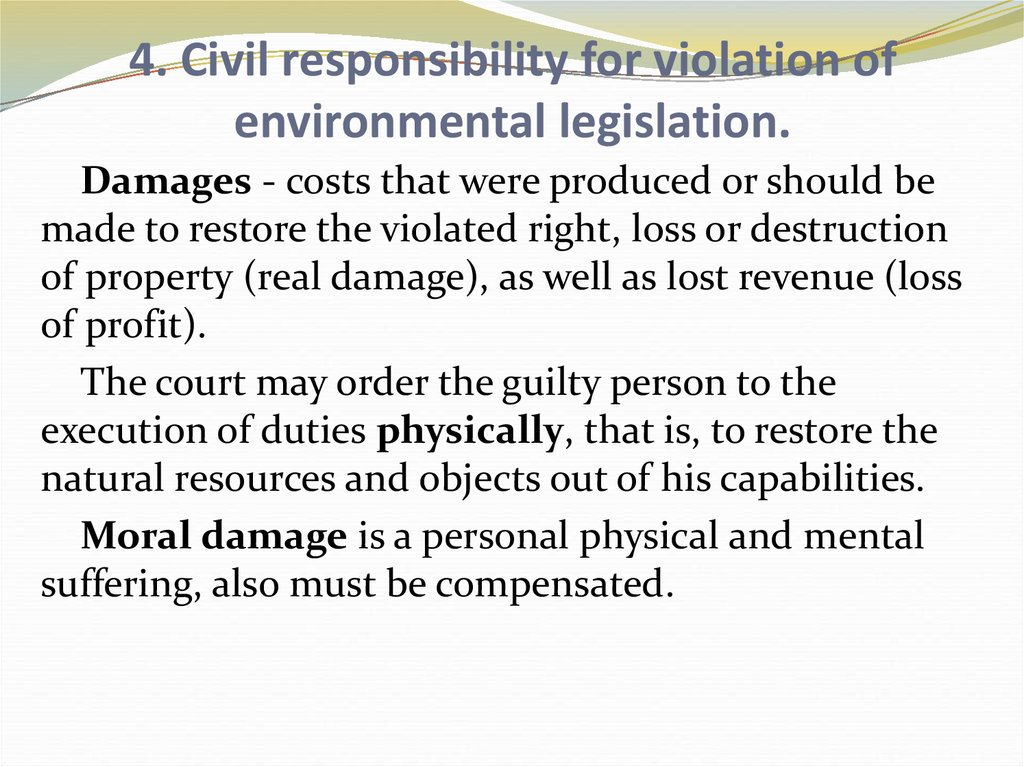 4. Civil responsibility for violation of environmental legislation.