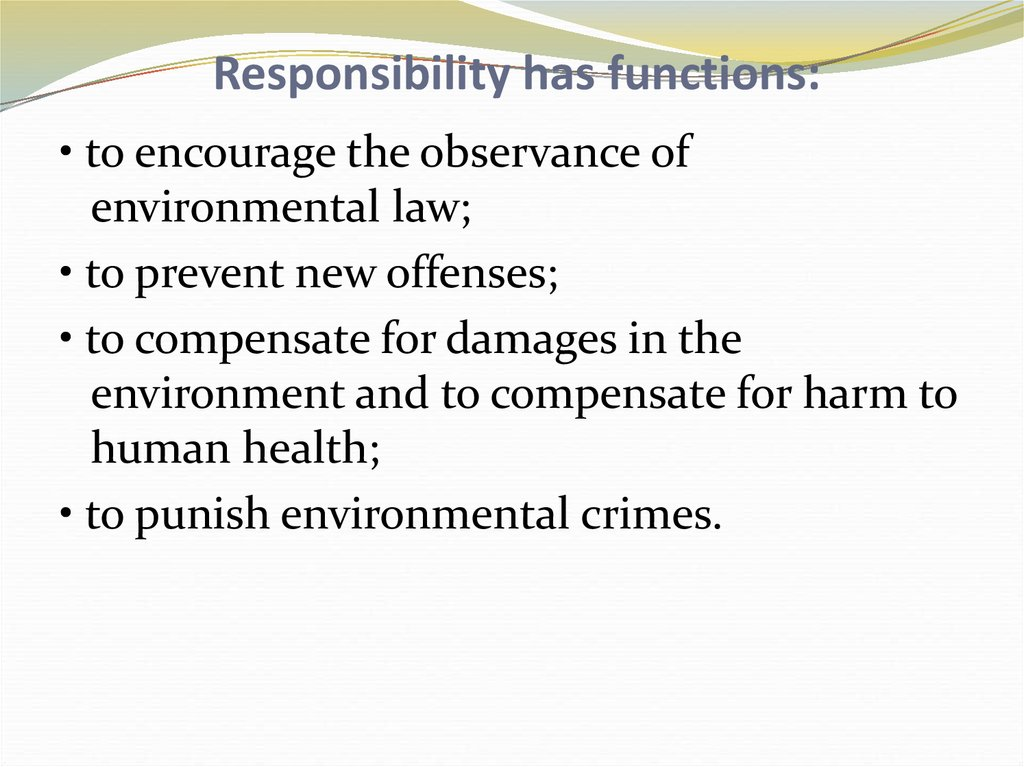 Responsibility has functions: