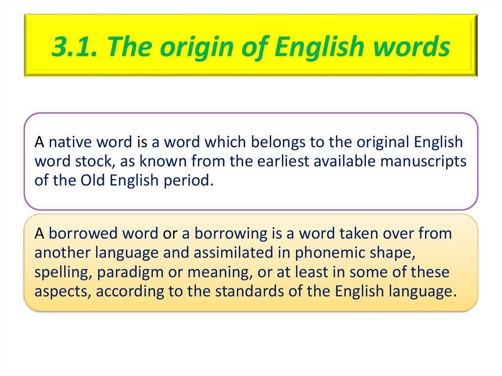 Etymological Characteristics of the English Vocabulary