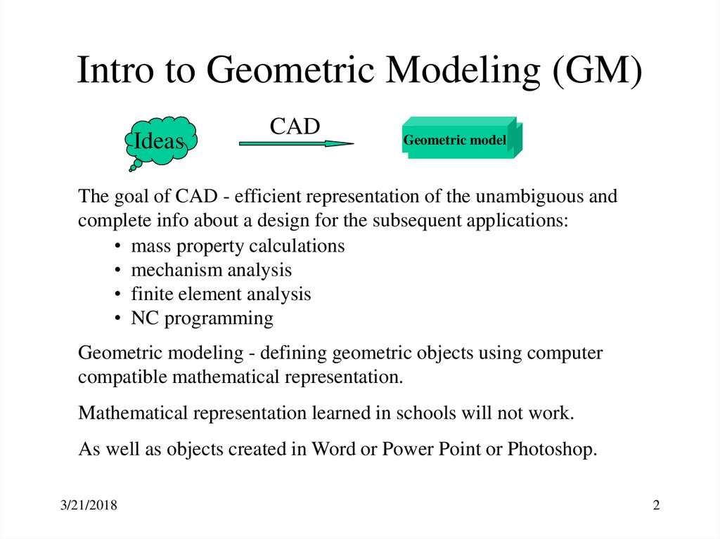 Intro to Geometric Modeling (GM)