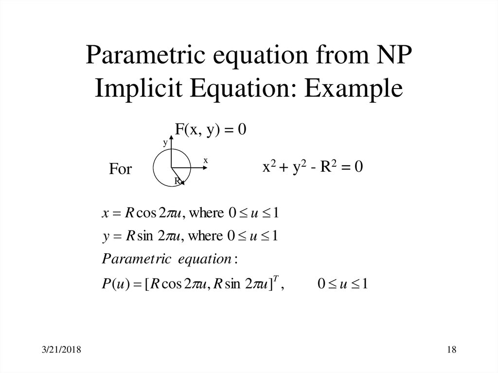 Parametric equation from NP Implicit Equation: Example