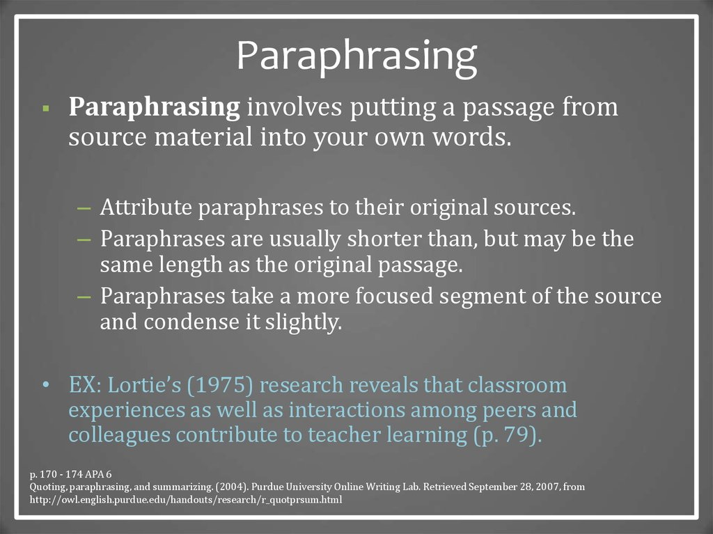 Differences between an apa in text citation and paraphrasing