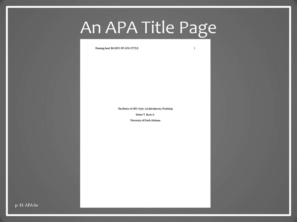apa style  the basics