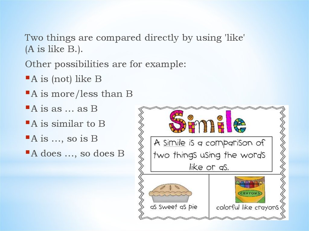 Simile. Modern Examples of Similes - online presentation