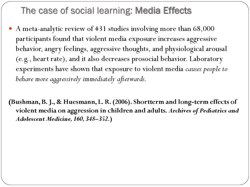 The case of social learning: Media Effects
