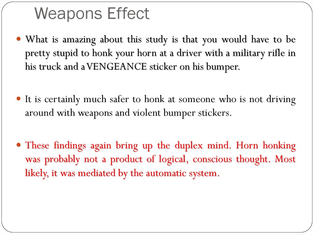 Weapons Effect