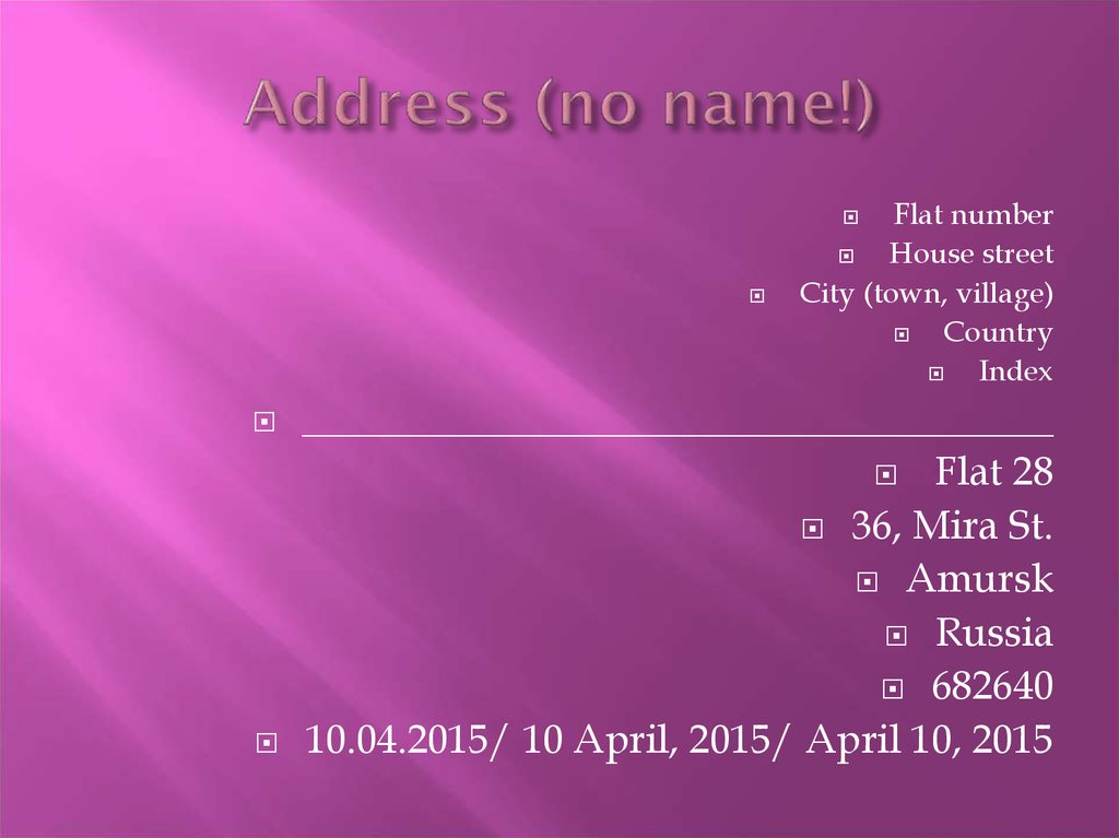 Address (no name!)