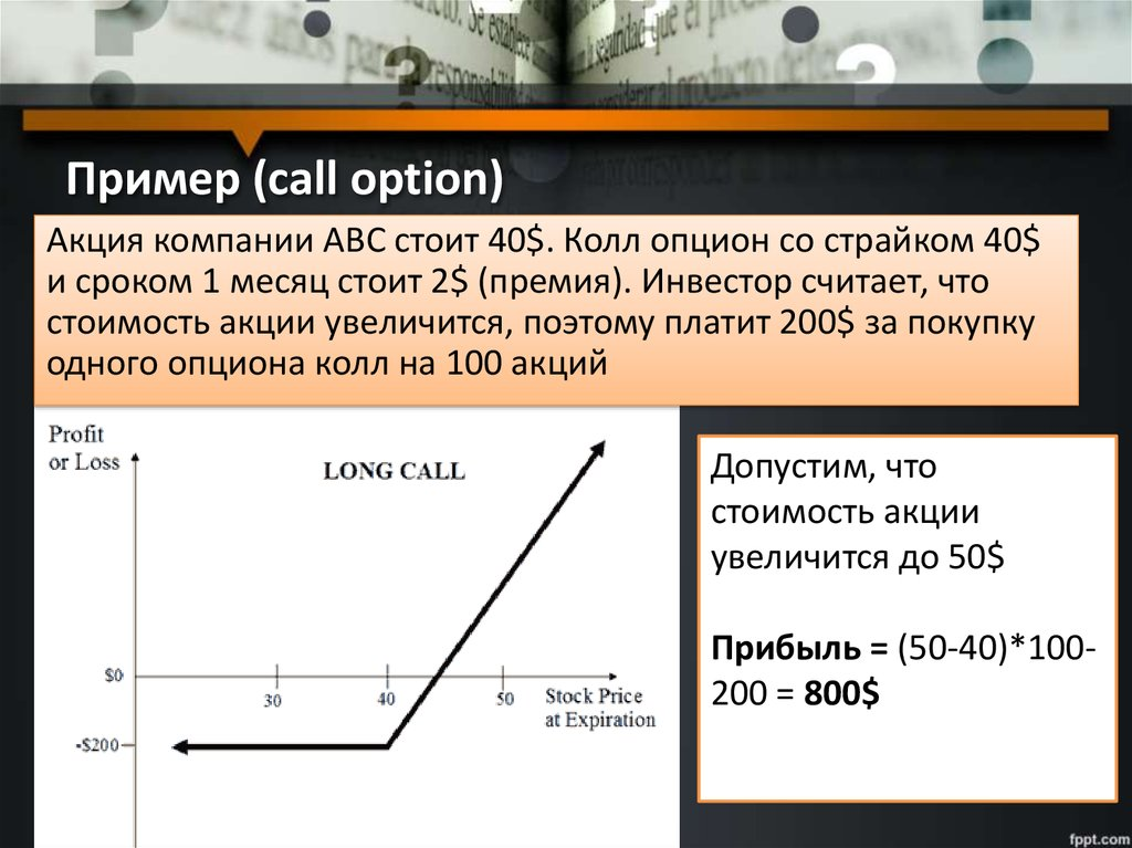 Пример (call option)