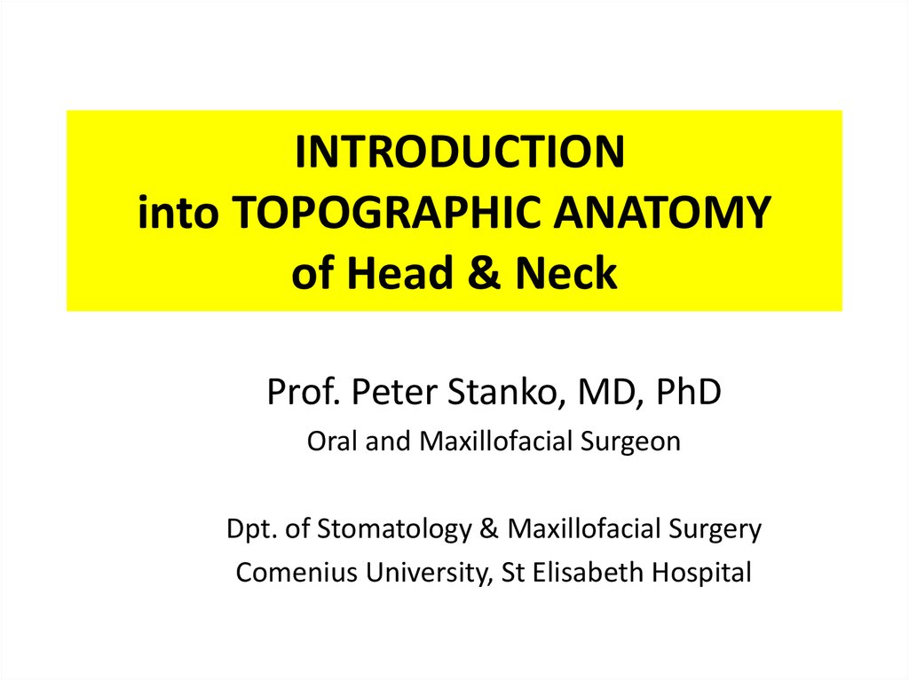 Introduction into topographic anatomy of head & neck - online ...