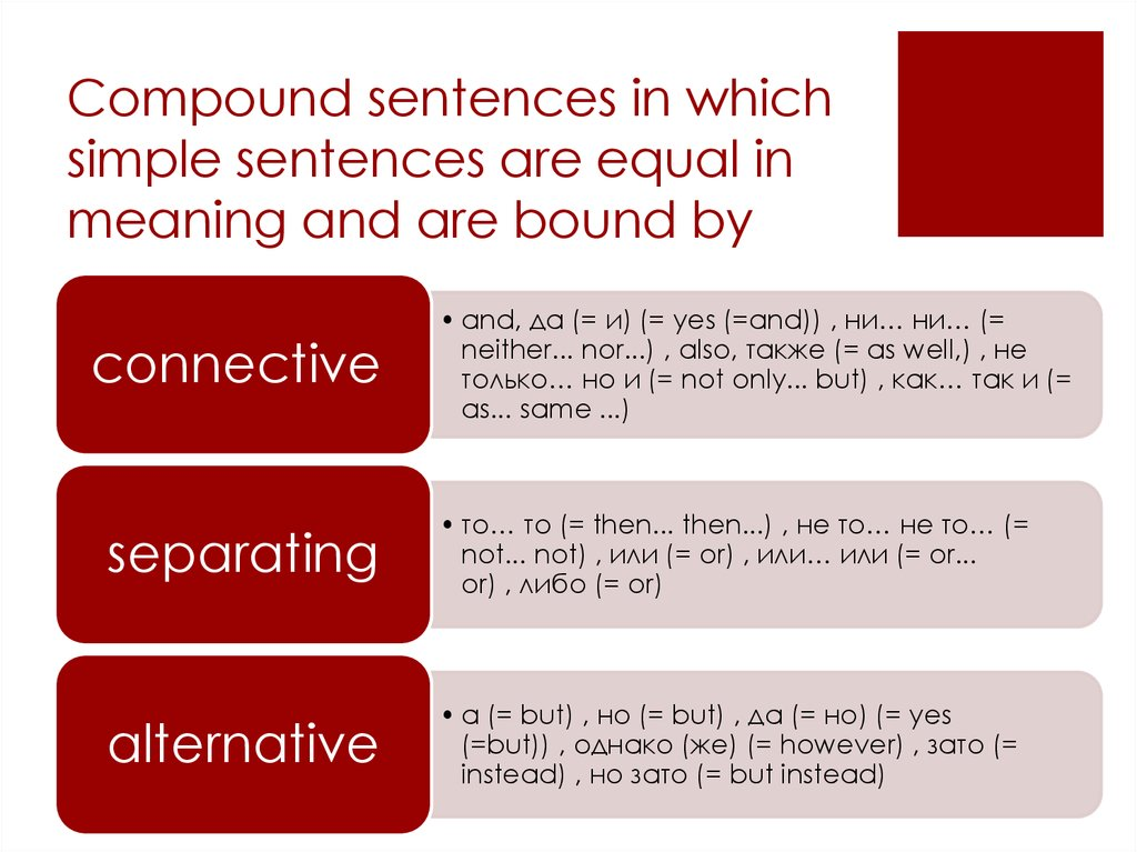 Compound sentences in which simple sentences are equal in meaning and are bound by