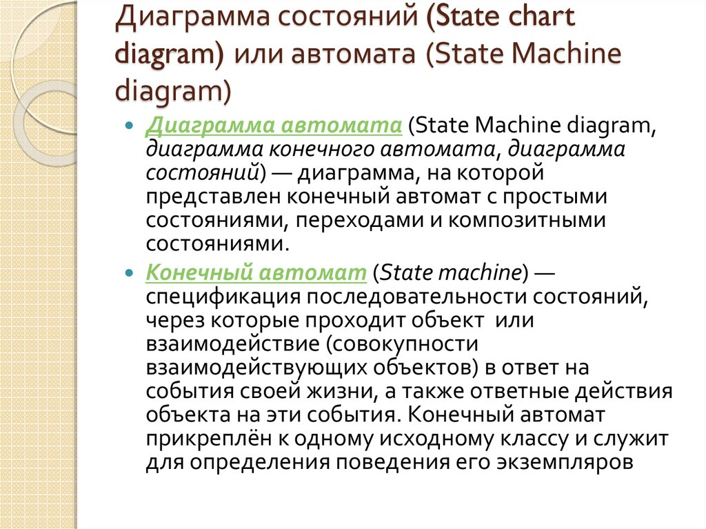 Диаграмма состояний (State chart diagram) или автомата (State Machine diagram)