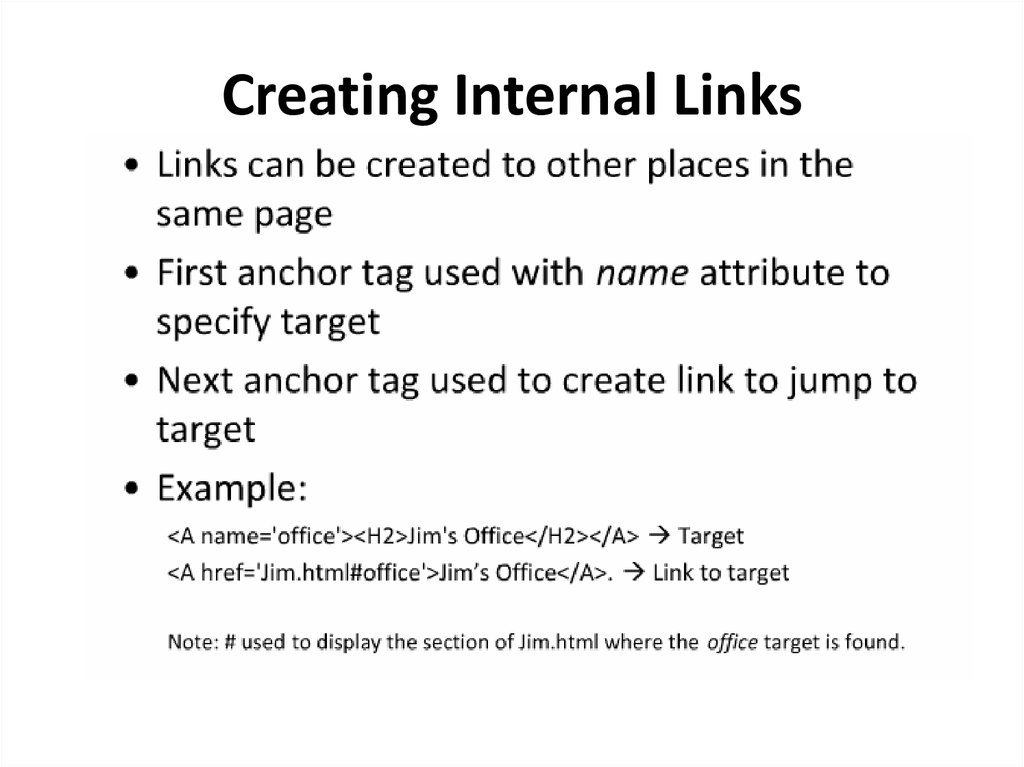 Creating Internal Links