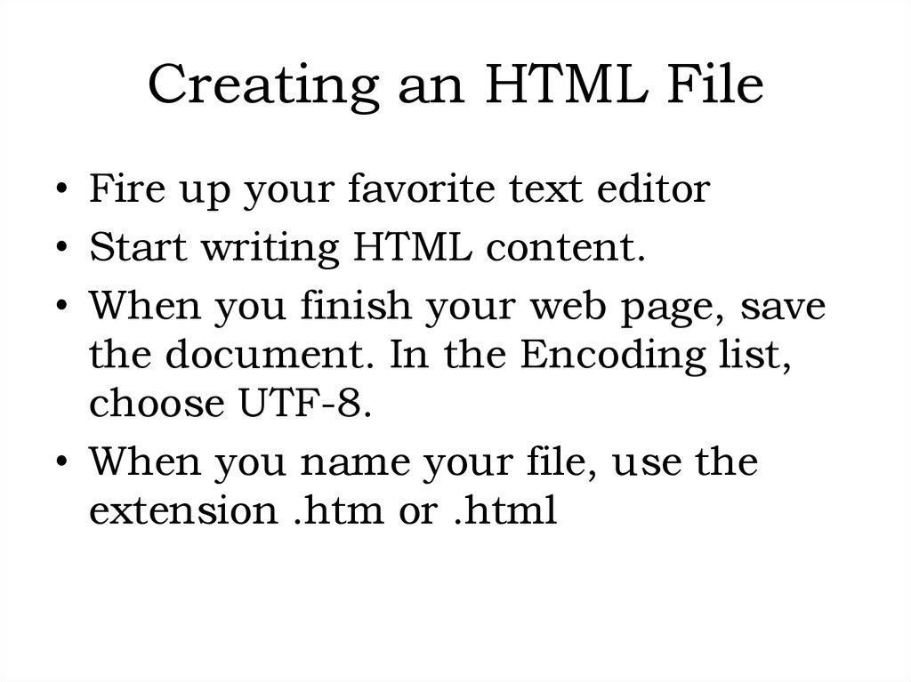 Creating an HTML File