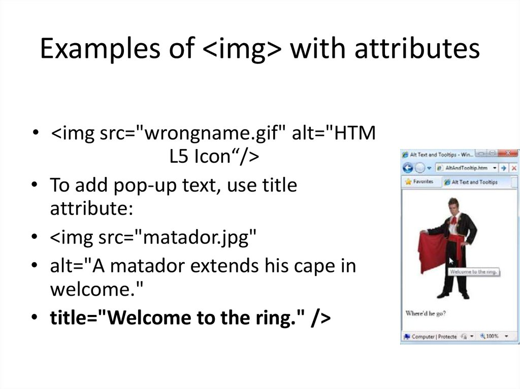 Examples of <img> with attributes