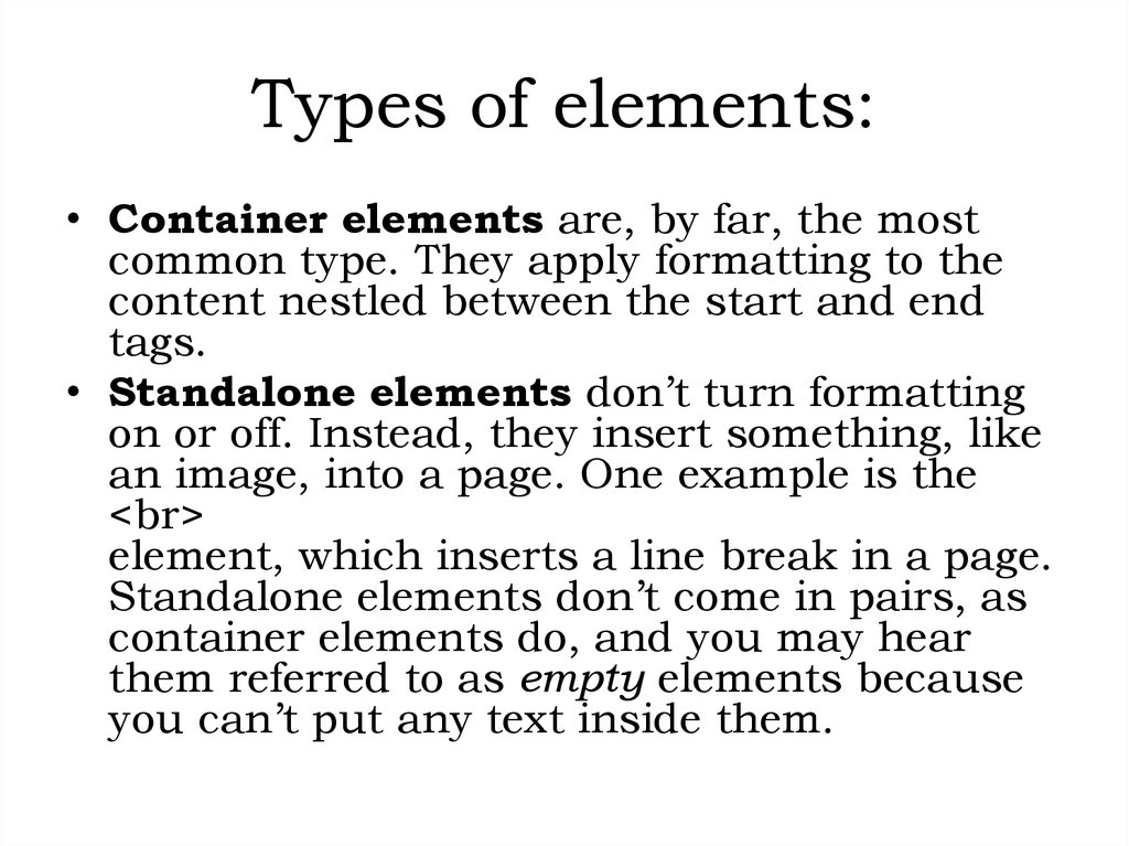 Types of elements: