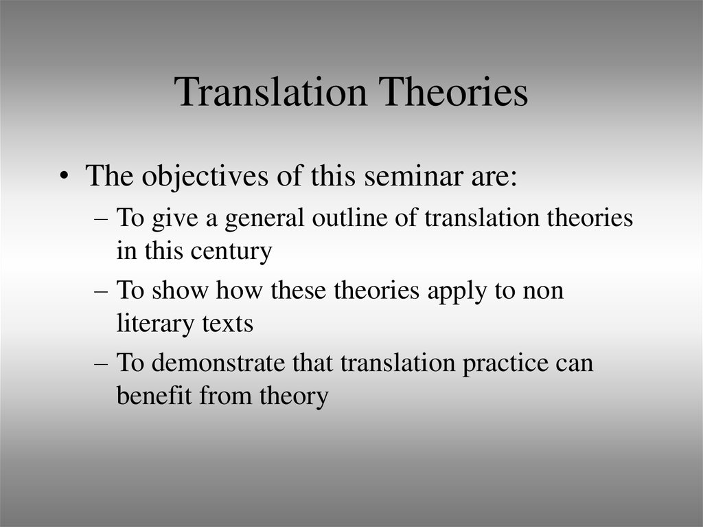 Translation Theories