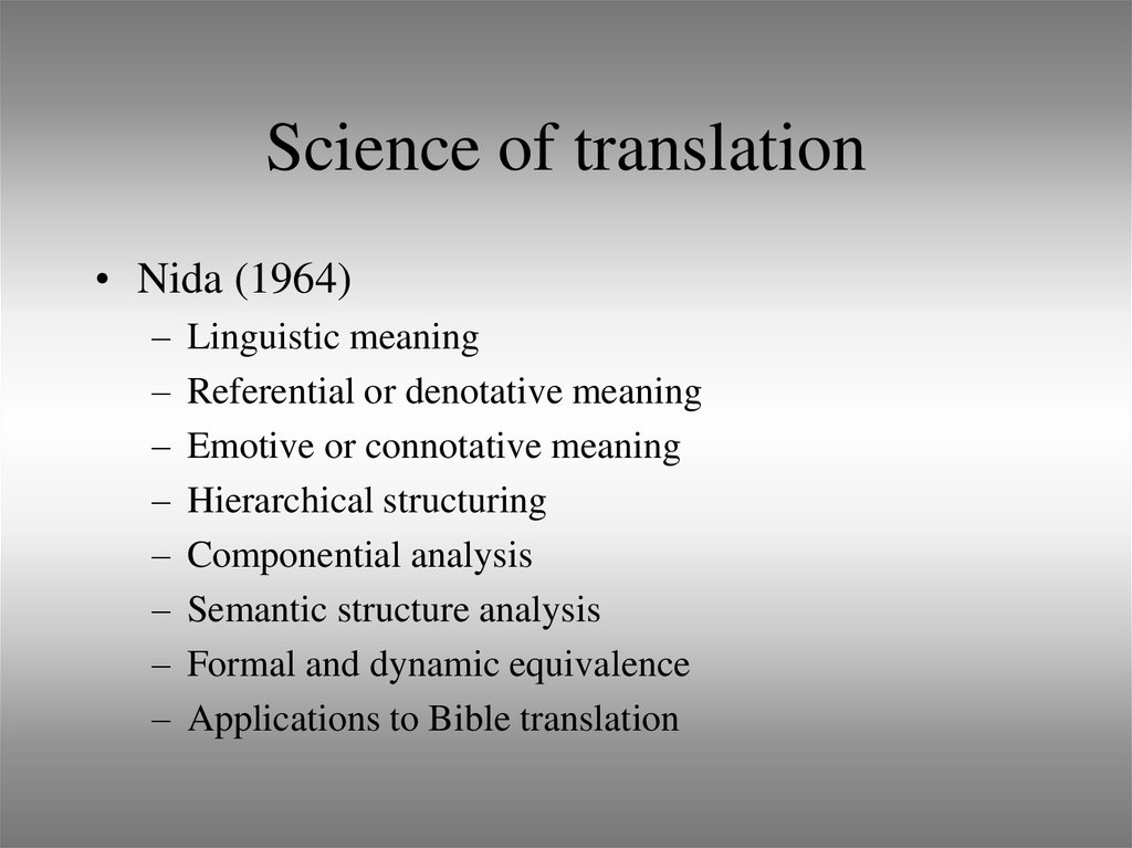 Science of translation