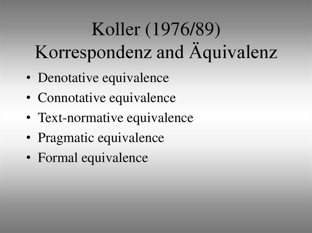 Koller (1976/89) Korrespondenz and Äquivalenz