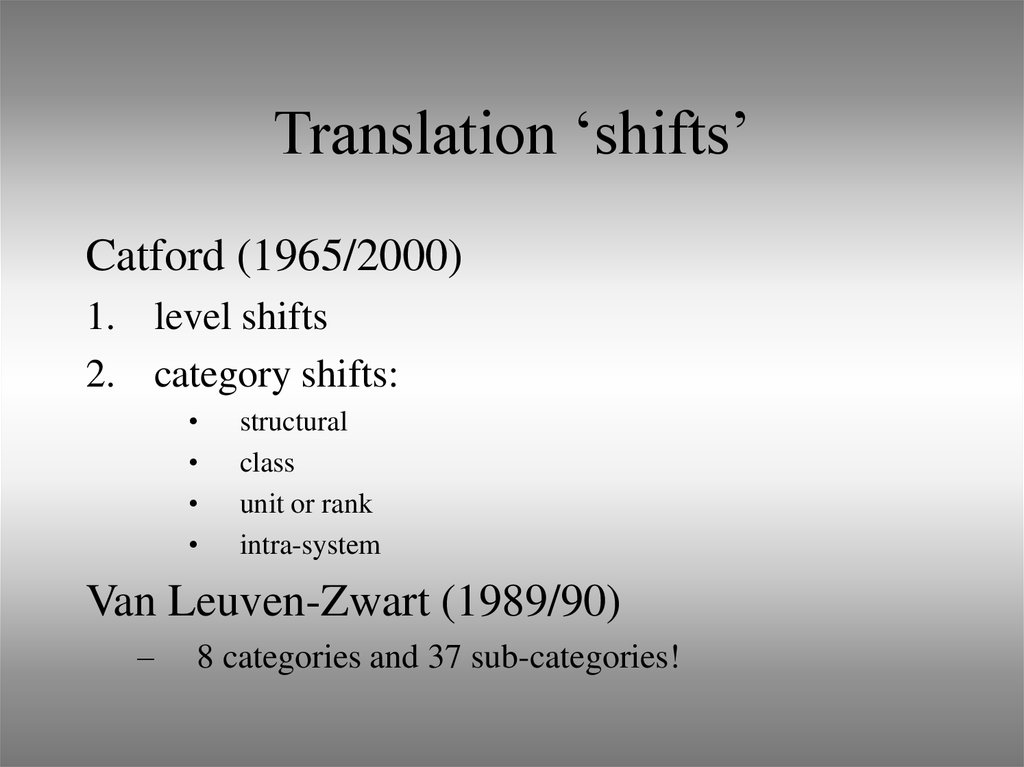 Translation 'shifts'