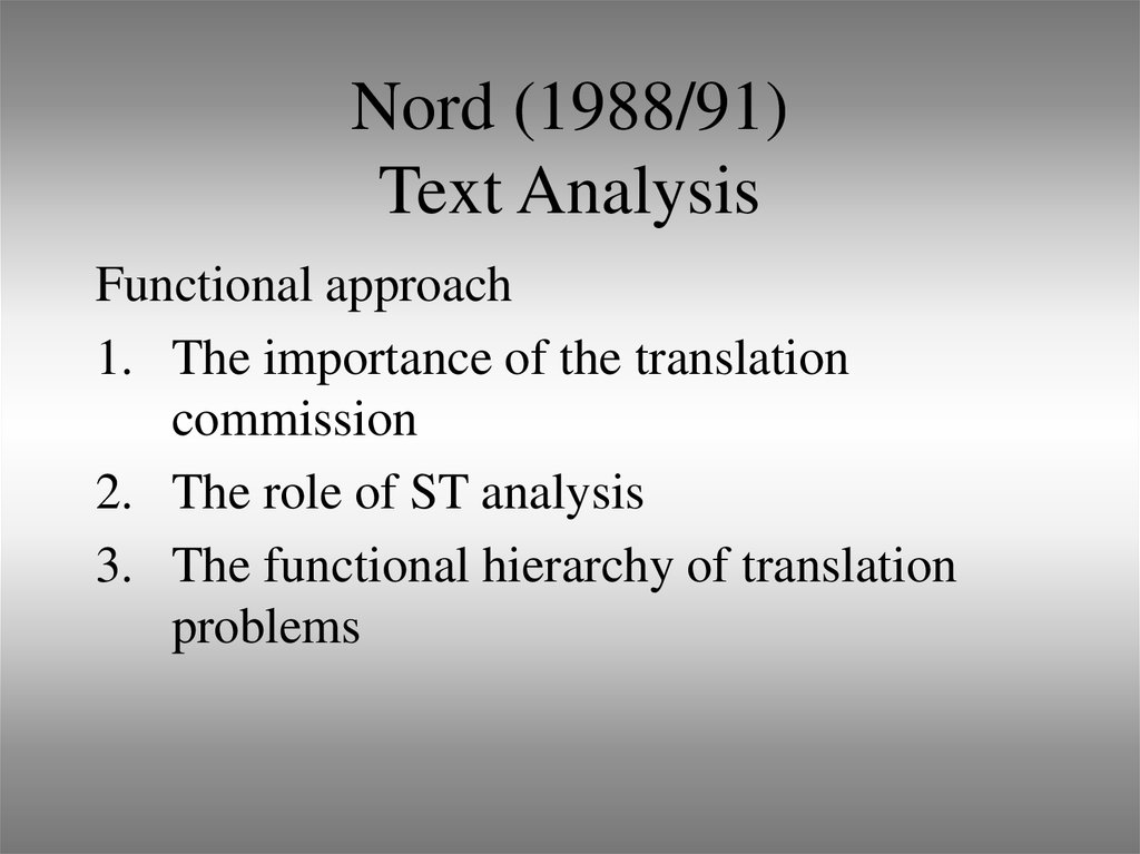 Nord (1988/91) Text Analysis