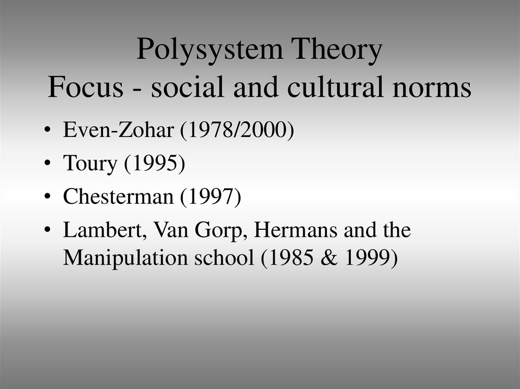 Polysystem Theory Focus - social and cultural norms