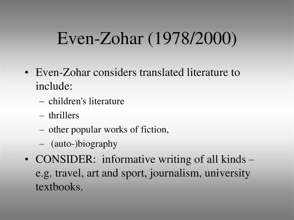 Even-Zohar (1978/2000)