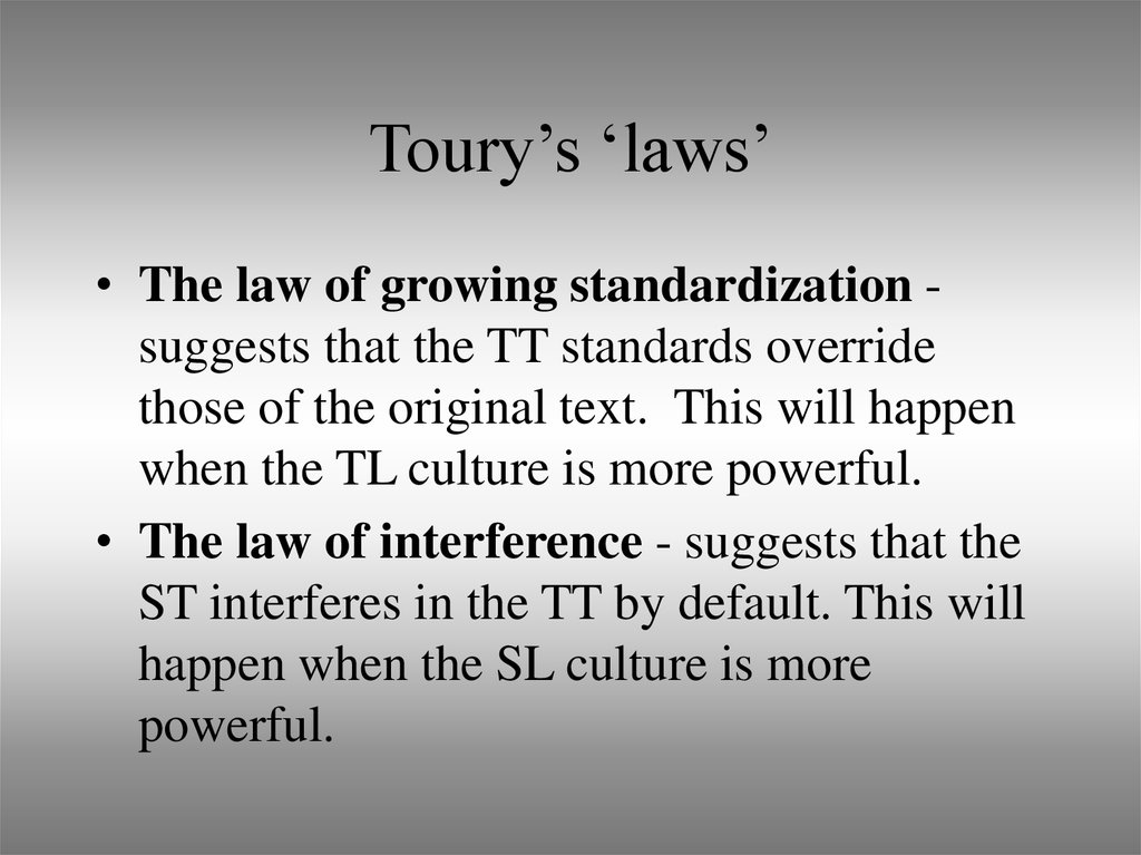 Toury's 'laws'