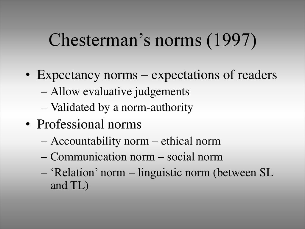 Chesterman's norms (1997)
