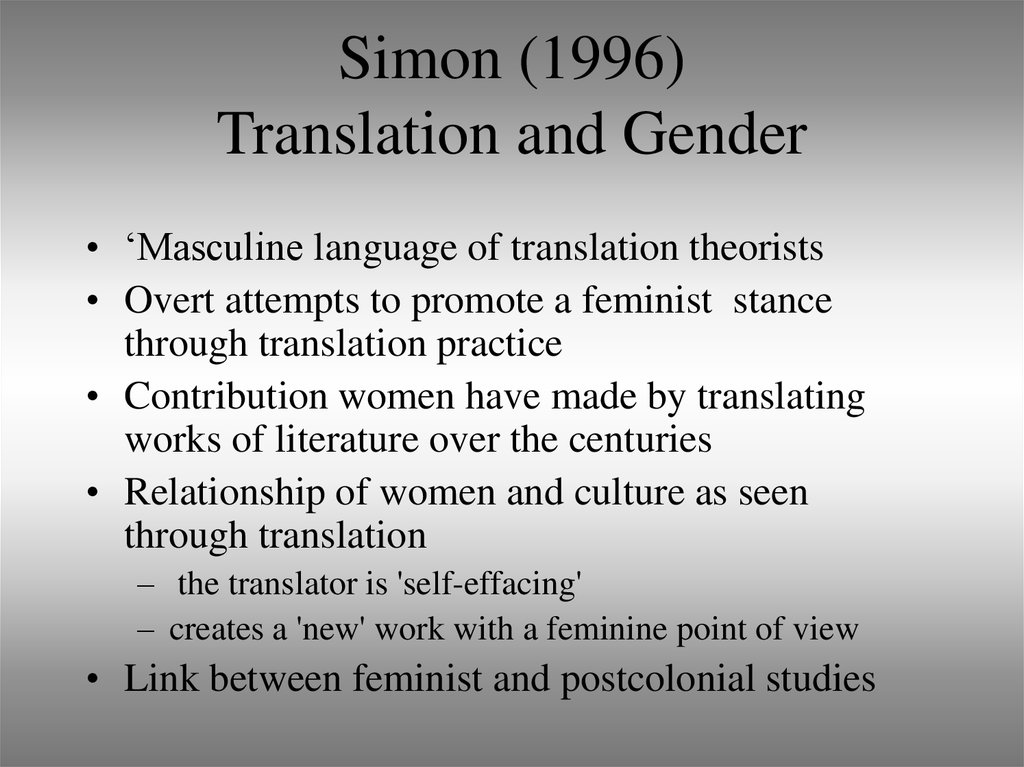 Simon (1996) Translation and Gender