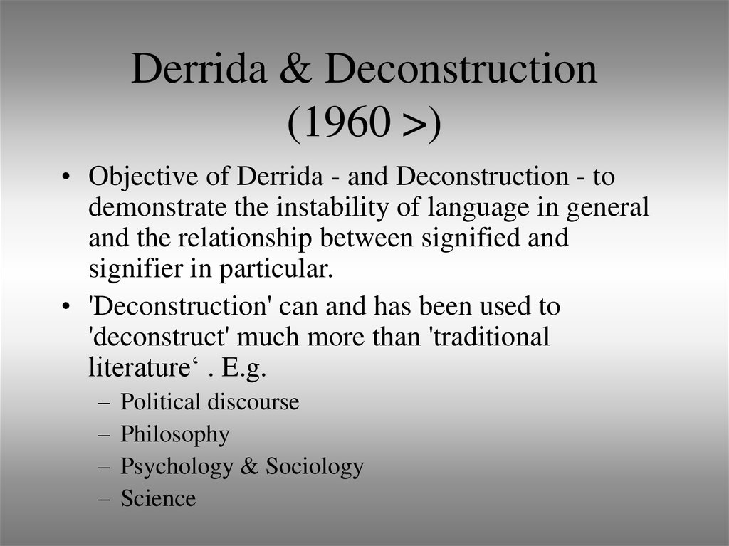 Derrida & Deconstruction (1960 >)
