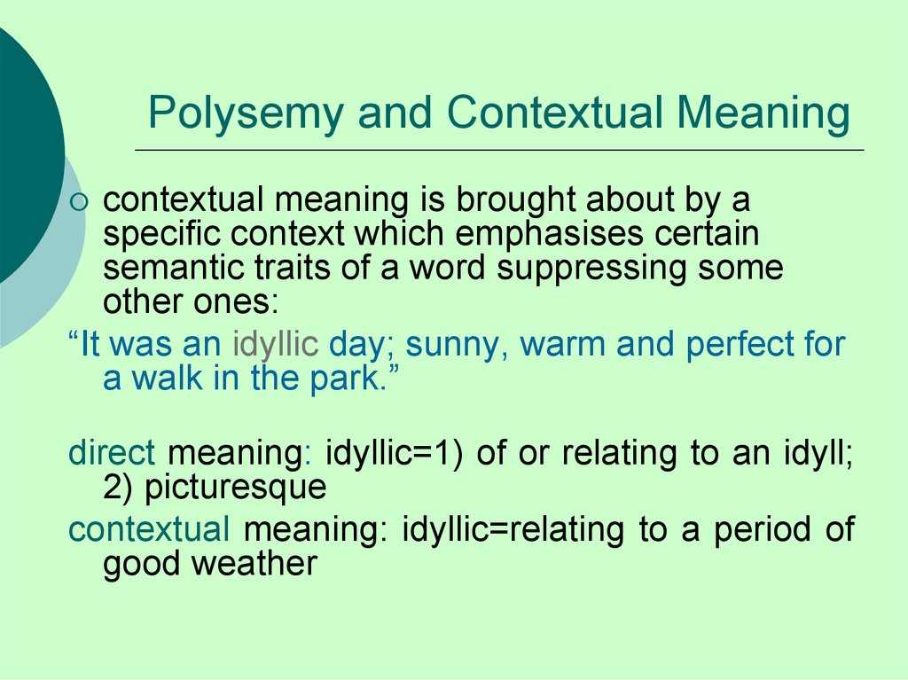 Polysemy and Contextual Meaning