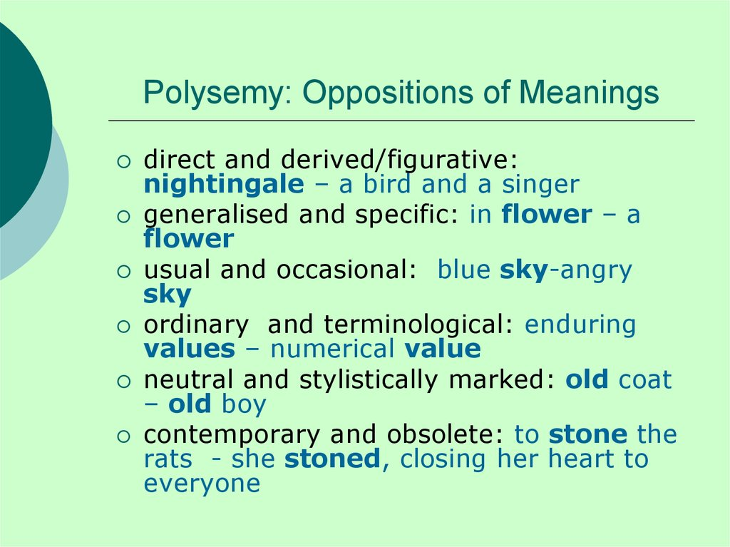 Polysemy: Oppositions of Meanings
