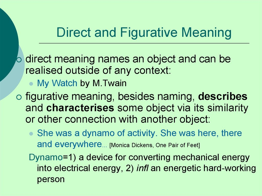 Direct and Figurative Meaning