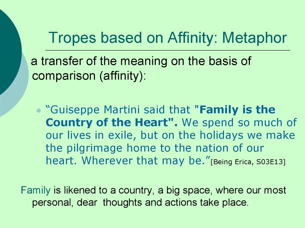 Tropes based on Affinity: Metaphor