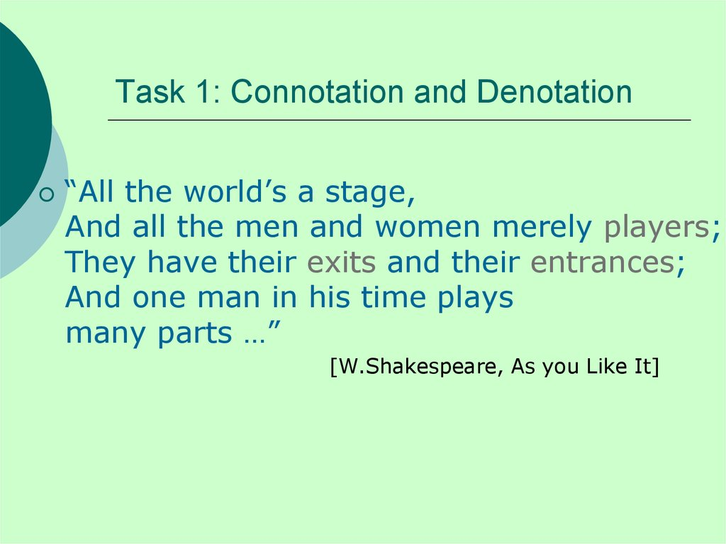 Task 1: Connotation and Denotation