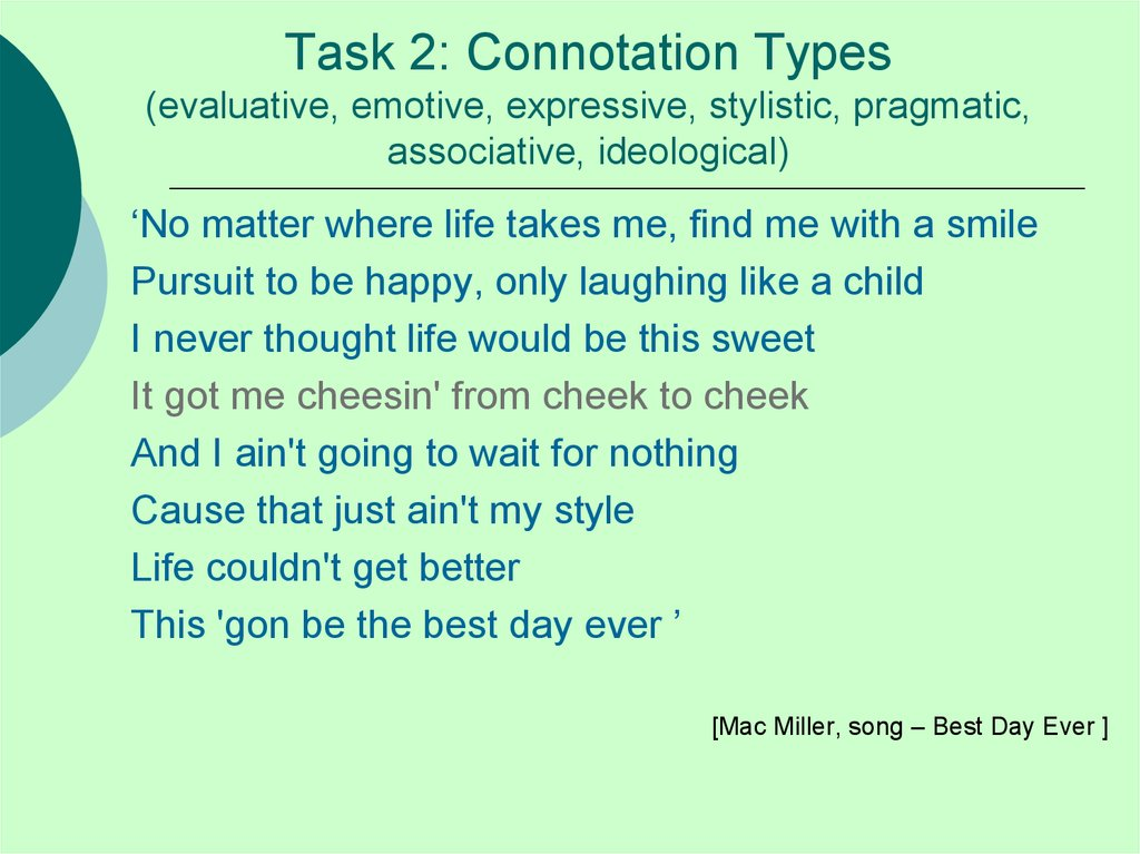 Task 2: Connotation Types (evaluative, emotive, expressive, stylistic, pragmatic, associative, ideological)