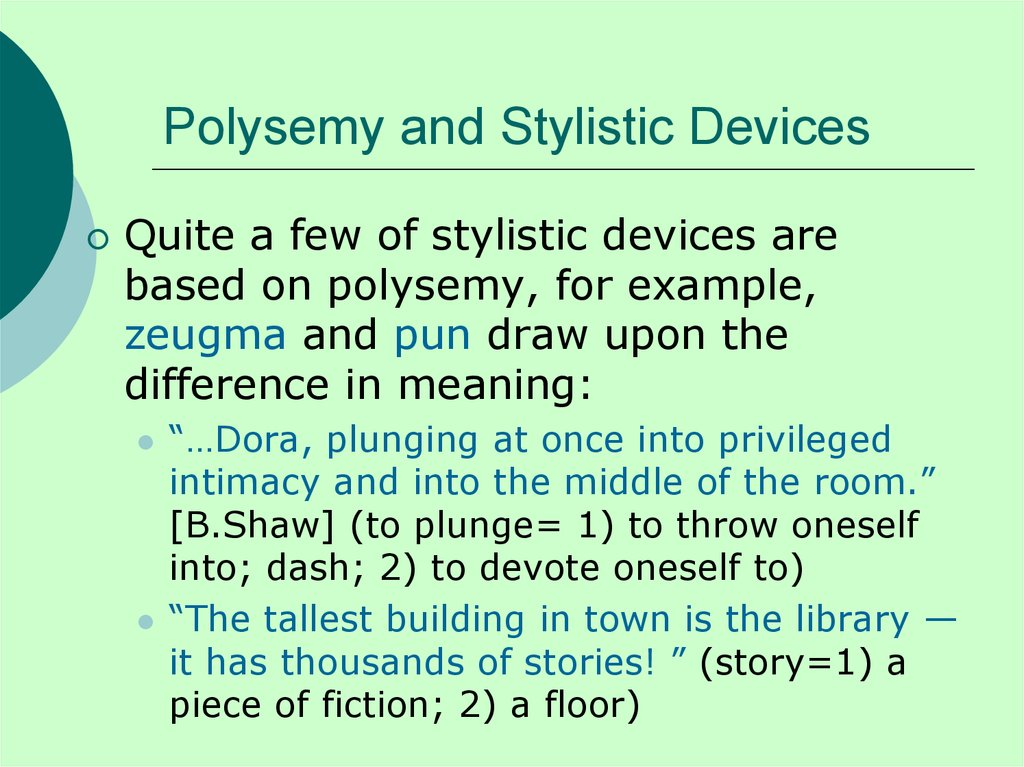 Polysemy and Stylistic Devices
